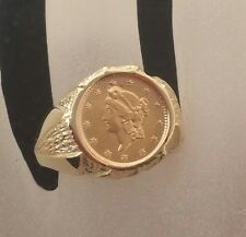 14k Ring Mount set With Authentic U S Antique one Dollar Gold Coin 22k Size10.5