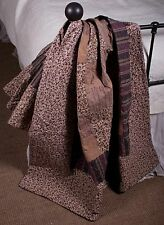Quilt Throw Cecily Patchwork Tan Brown Floral Scroll Cotton Lap Blanket