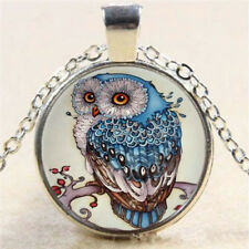 Vintage Retro Steampunk Owl Photo Cabochon Glass Pendant Silver Chain Necklace