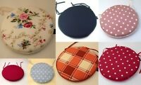Circular/Round Bistro Tie-on Kitchen/Dining/Patio Chair Seat Pad Cushions