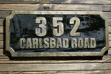 Address Sign Antique Brass Finished Wood Custom Carved Large Plaque