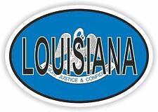 OVAL LOUISIANA STATE WITH FLAG USA STICKER AUTO MOTO TRUCK LAPTOP BIKE CAR