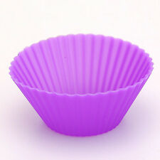12pcs Soft Silicone Round Cake Muffin Chocolate Cupcake Liner Baking Cup Mould