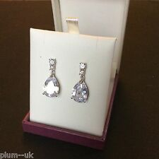 Hi-Society sim diamond pear drop dangle earrings silver white gold gf BOXD HS005