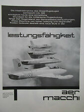 6/1962 PUB AVION AERMACCHI MB-326 MILITARY JET TRAINER ORIGINAL GERMAN AD