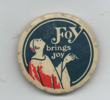 """Large 1920s Celluloid Advertising Pinback for Foy Cigarettes """" Foy brings Joy """""""