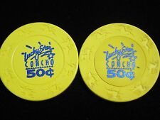 2 - .50 cent Lucky Star Casino Concho OK Oklahoma Gambling Poker Chips Retired