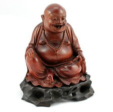 Vintage Hand Carved Happy Buddha Wooden Statue w/ Base, Artist Signed