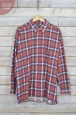 Vintage Red & Blue Tartan Checked Flannel Shirt (XL)