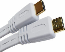10m 10  Metre FLAT WHITE 1.4 HQ HDMI CABLE High Speed With Ethernet 4K  Gold