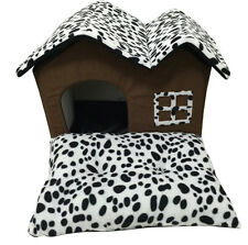 Portable Luxury Pet Dog Cat Leopard Bed House Warm Mat Snug Puppy Bedding Home