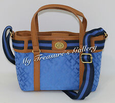 New Tommy Hilfiger Mini Tote Crossbody Shoulder Bag Purse Blue Multi NWT