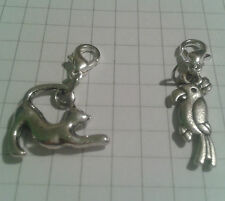 """TIBETAN SILVER 2 CHARMS CURLYTAIL CAT+ PARROT"""",FOR CHARM BRACELET OR TINY PURSES"""