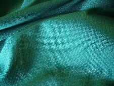 FRENCH SOFT SUITING-CHEVRON-JADE GREEN/BLACK -DRESS FABRIC-FREE P&P