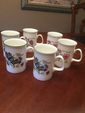 Royal Court England Fine Bone China Flower Mug EXCELLENT 6 CUP Set Coffee Tea