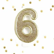 Light Gold Glitter Birthday Candle Number 6 Gold White Cake Topper Six