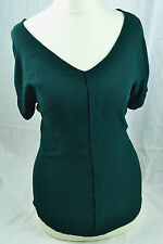 MASSIMO DUTTI XS UK6 Bottle Green BLOUSE Office Smart V Neck Short Sleeve Top