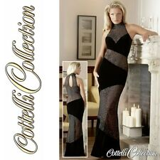 CC Langes Samt Abendkleid Partykleid Kleid Extravagant Schwarz Flockprint in M