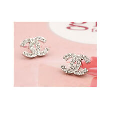 Designer Silver High Fashion Monogram Stud Earrings Jewelry