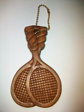 Wood Carved Tennis Racquet Racket KeyChain Key Chain