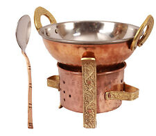 Handmade Pure Copper Kitchen Set of 1 Spoon 1 Kadai 1 Sigri for use serving Food