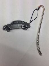 Sabb 96 Rally 2 stroke ref235 Pewter Effect car on a pattern bookmark with cord