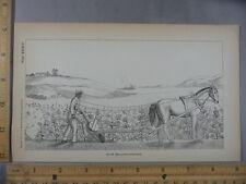 Rare Antique Orig VTG Horse Plow Bellows Poisoner Farming Illustration Art Print