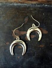 Urban Trend Polished Gold Horn Tusk Crescent Dangle Drop Edgy Hook Earrings