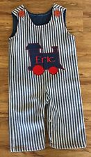 TOOTH FAIRY Boutique Boys 6 Months CUSTOM ERIC TRAIN Blue Pinstriped OVERALLS