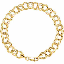 14k yellow gold double link charm braclet 7.25""