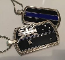 Thin Blue Line, Dog Tag, Australian Flag, Police, 1 X Tag With Chain, TBL
