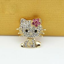 Cute Alloy Gold HelloKitty Cat Rhinestone Crystal and Pink Flower Brooch Pin