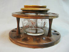 Vintage Decatur Deco Walnut 12-Spot Pipe Stand w/Hunting Scene Jar Lid tobaco