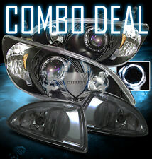 04-05 Honda Civic Coupe /Sedan Halo Projector Black Headlights /Smoke Fog Lamps