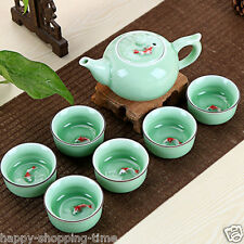 7pcs/lot porcelain china tea set fish cups set Chinese celadon ceramic tea pot