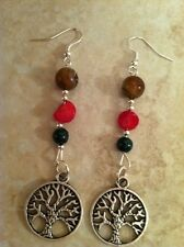 TREE OF LIFE circle earrings silver agate coral malachite, Kabbalah Wiccan Boho