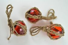 "3 PCS REPRODUCTION RED GLASS FLOAT BALL WITH FISHING NET 3"" #F-459"