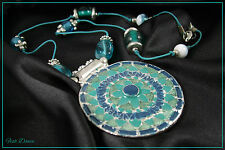 STUNNING LARGE TURQUOISE & BLUE GLASS BEAD ANTIQUE SILVER PENDANT NECKLACE.