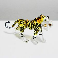 Yellow Bengal Tiger Figurine Animal Hand Blown Glass Gift Home Decor Collectible