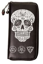 Banned Pentagram Skull Wallet Purse Gothic Occult Witchcraft Black Zip around