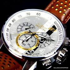 Mens Invicta S1 Rally Racing Silver Dial Brown Leather Chronograph Watch New