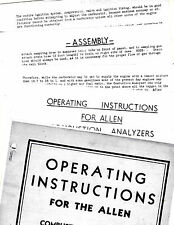 ALLEN COMBUSTION ANALYZERS VINTAGE INSTRUCTION OPERATING MANUAL RE 2