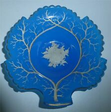 Rare Exceptional French Blue Opaline Art Glass Leaf Dish