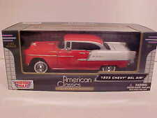 Chevy Bel Air Hard Top Coupe 1955 Die-cast Car 1:24 Red by Motormax 8 inch