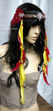 Red Yellow Indian Headdress Feather Crown Native Crown Feather Headband