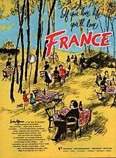 VINTAGE  AD FRANCE FRENCH TOURIST BUREAU BOIS DE BOULOGNE