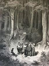 Gustave Doré Petit Poucet Charles Perrault estampe originale 1862 Pierdon