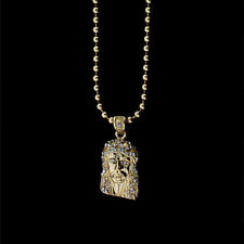 """ICED OUT 14K GOLD FINISH MICRO MINI JESUS FACE PIECE PENDANT & 30"""" BEAD CHAIN"""