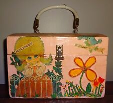 Vintage Circa 1960's 70's Hand Decorated Decoupage Pink Purse Cute!