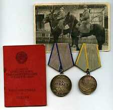"Soviet Russian WW2 Medal SET ""For Bravery""&""For Services In Battle"" + Old Photo"